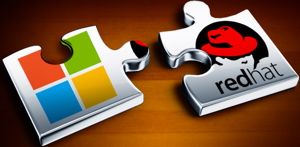 Microsoft and Red Hat logos
