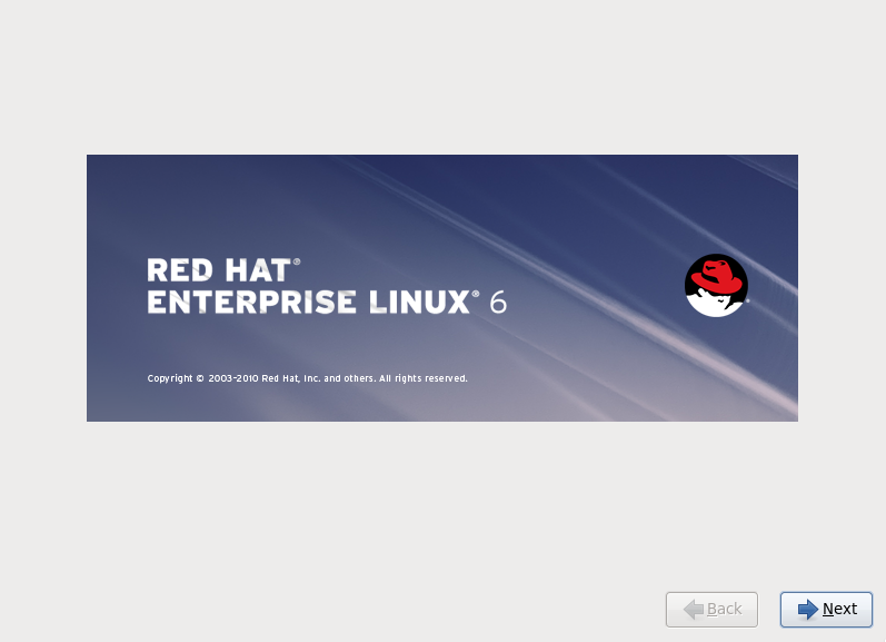 RHEL 6 welcome screen